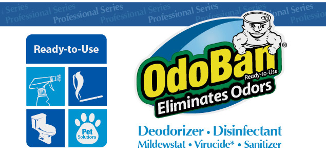 OdoBan Ready-to-Use Spray Eliminates Odors. Deodorizer, Disinfectant, Mildewstat, Virucide, Sanitizer