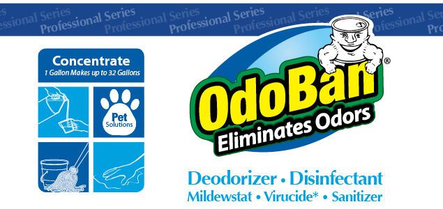 OdoBan Concentrate Eliminates Odors. Deodorizer, Disinfectant, Mildewstat, Virucide, Sanitizer